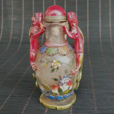 Chinese Exquisite Old Beijing Glass Handmade Beast Statue Snuff bottle