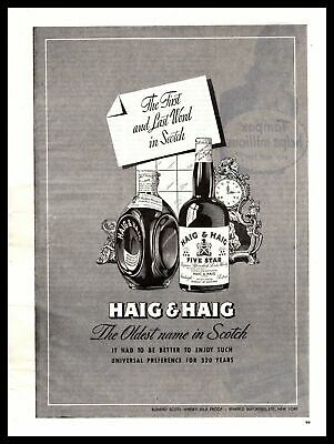 """1947 Haig & Haig Five Star Scotch Whisky """"It Had To Better"""" Vintage Print Ad"""