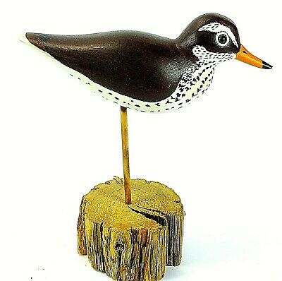 Vintage HERITAGE INDUSTRIES LTD Hand Painted SAND PIPER BIRD ON WOOD STAND