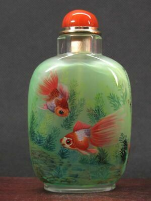 Chinese Four Goldfish Inside Hand Painted K9 Crystal Snuff Bottle:Gift Box