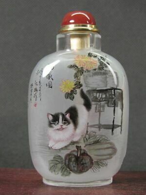 Chinese Cat Inside Hand Painted K9 Crystal Snuff Bottle:Gift Box