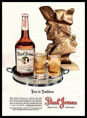 "1947 Paul Jones 86 Proof Fine Blended Whiskey ""True To Tradition"" Print Ad"