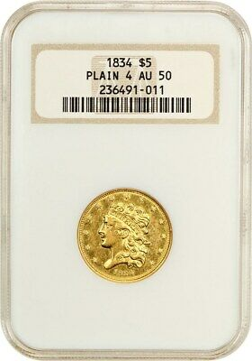1834 Classic Head $5 NGC AU50 (Plain 4, OH) - Early Half Eagle - Gold Coin