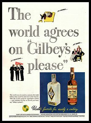 """1947 Gilbey's Spey-Royal Scotch Whisky & Gin """"Gilbey's Please"""" Vintage Print Ad"""