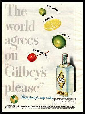 """1947 Gilbey's Dry Gin """"In Martinis Fizzes Rickeys Tom Collins"""" Vintage Print Ad"""