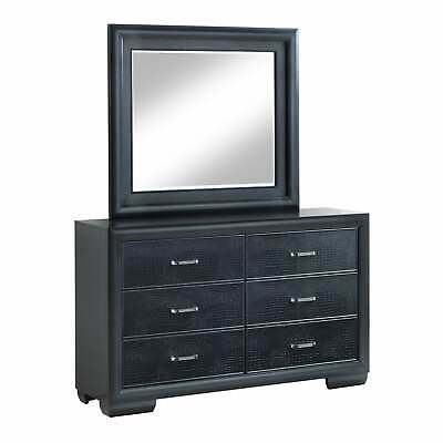 LYKE Home Caterina Six Drawer Dresser and Mirror Set charcoal 6-drawer