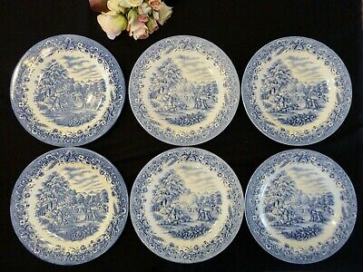 "Six Churchill Currier & Ives Dinner Plates ""Harvest"" Made in England"