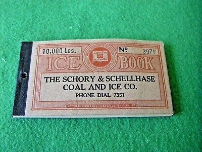 Antique 1930's The Schory & Schellhase Coal And Ice Co. coupon book