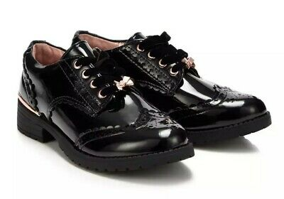 Baker by Ted BakerGirls' Black Rose Gold Patent Brogues Free Delivery