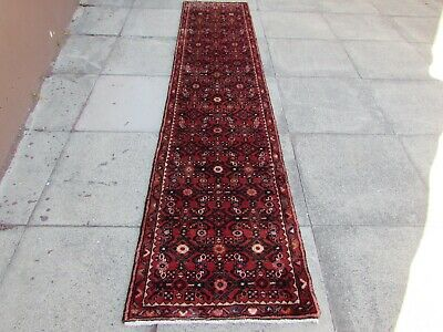 Vintage Traditional Hand Made Oriental Red Wool Long Narrow Runner 290x64cm