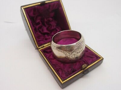 Cased Victorian Hm 1881 Solid Sterling Silver Napkin Ring Original Leather Box