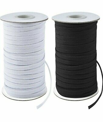 6mm ELASTIC - Premium Grade Black Or White 8 Cord Flat Corded Different Lengths