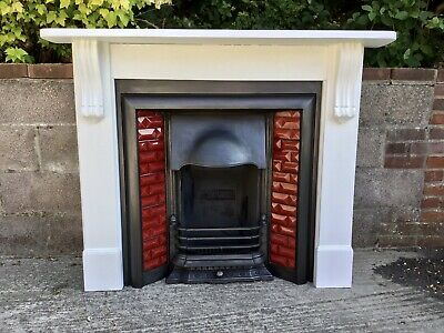 Original Antique Cast Iron Tiled Fireplace & Solid Wooden Painted Surround