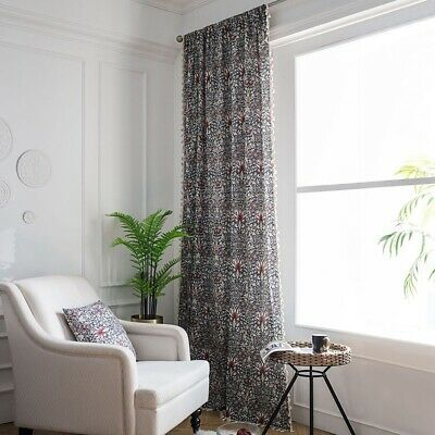 Red Floral Window Panel Curtains Yellow Print Door Drapes Bedroom Bohemian Decor