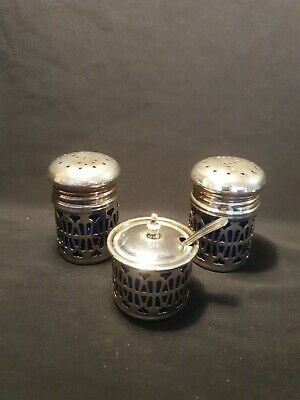 Vintage Epns Cruet Set with blue glass liners & spoon.England