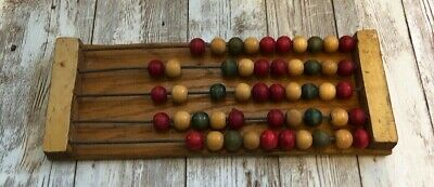 Vintage Small Wooden Frame and Metal Rod Counting Abacus