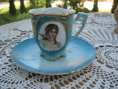 wow RARE ANTIQUE CUP & SAUCER w/lady EMPIRE VIENNA