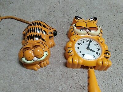 Vintage Garfield Telephone by Tyco & Sunbeam Wall Clock Combo