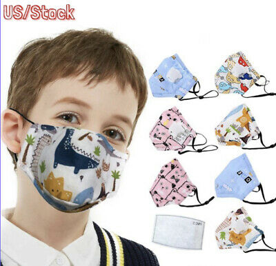Kids Face Mask with VALVE, 5 Layer Filter PM2.5 Anti-pollution Activated Carbon