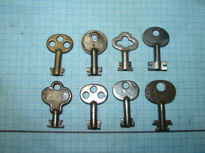 8 Six/Eight Lever Lock Keys - Old - Antique