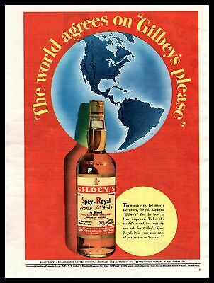 """1948 Gilbey's Spey-Royal Scotch Whisky """"The World Agrees On Gilbey's"""" Print Ad"""