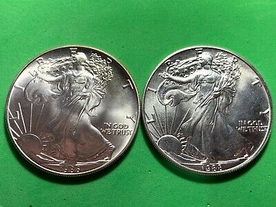 1986 & 1988 American Silver Eagle's 1 Troy Ounce .999 Uncirculated Coins Nice