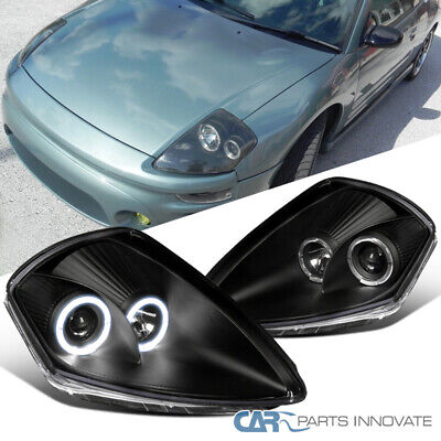 Black For 00-05 Mitsubishi Eclipse Halo Projector Headlights Head Lights Lamps