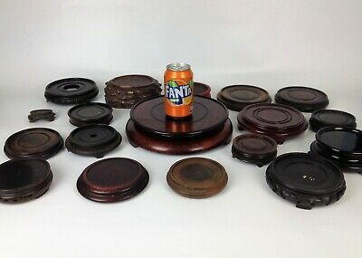 18 x Oriental Hardwood Vase Stands- Antique Chinese Japanese Carved Wood Job Lot