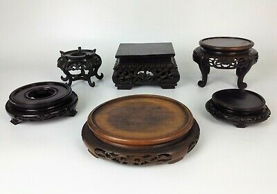 6 x Fine Antique Chinese Carved Hardwood Stands- Vase Bowl Wood Display Quantity