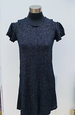 NEXT rainbow lurex GIRLS SPARKLY FINE KNIT OPEN SHOULDER MINI DRESS Age 12