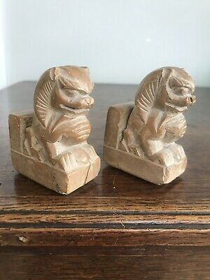 Pair Of Small Vintage Soap Stone Chinese Temple Fu Foo Dog Bookends