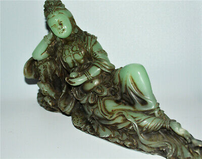 chinese antique real jade carved nephrite guan kwan yin buddha statue figurine