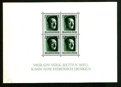 GERMANY 1937 Mounted Mint CULTURE FUND & HITLERS 48th BIRTHDAY MINI SHEET MS635