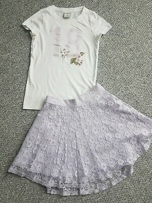 Girls Abercrombie And Fitch Summer Tshirt Skirt Outfit Set Age 9-10 Years