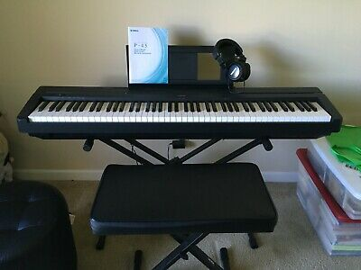 Yamaha P45 Digital Piano with Keyboard Stand, Bench, Headphones, Sustain Pedal