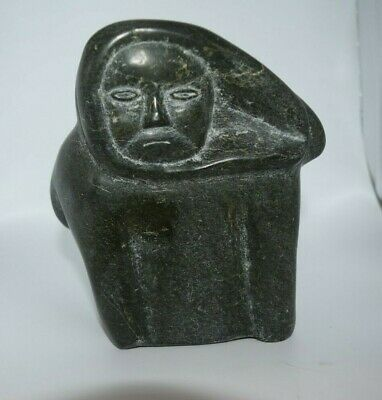 Heavy Inuit Indian Soapstone Carving Statue Hooded Man Frobisher Bay Nunavut