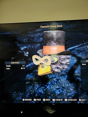 Fallout 76 xbox one Raven mask! (RARE OUTFIT)