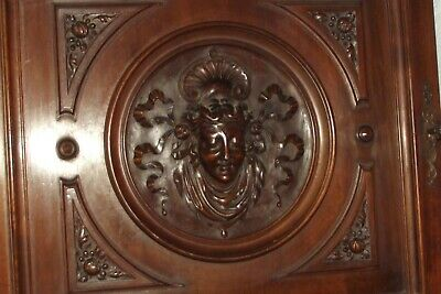 """STUNNING ANTIQUE LARGE  DEEP CARVED PANEL DOOR LADY FACE  26"""" x 24"""" hand carved"""