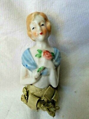 Vintage Porcelain HALF DOLL w/ Silk Fabric Shreds PiN CUSHION