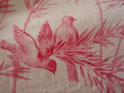 A Beautiful 19th Century French Toile Chinoiserie Pink Fabric Panel