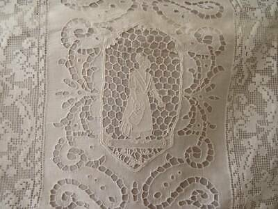 A Beautiful Antique Burano Lace Cutwork ~ filet Cushion Cover C.1900