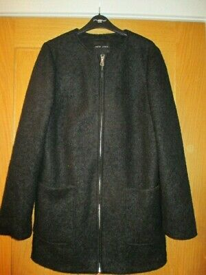 Ladies/Girls New Look Black Lined Loose fit Jacket Coat - size 10