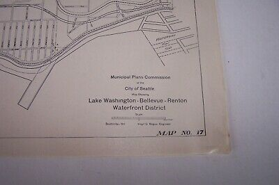 1911 Lake Washington Bellevue Renton Seattle Municipal Plans Bogue Map #17