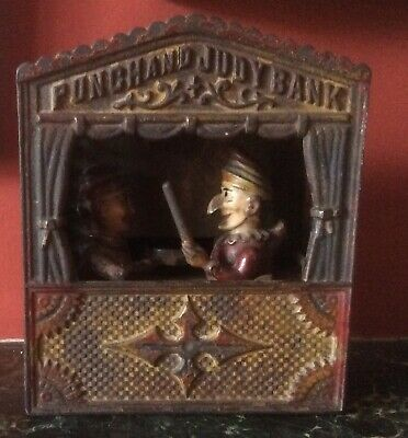 Antique Punch And Judy Cast Iron Money Box Mechanical Bank 1884 Rd no 10423