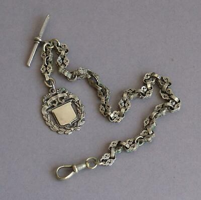 Vintage EMPIRE SILVER Substantial ALBERT POCKET WATCH CHAIN Albo FOB CHARM