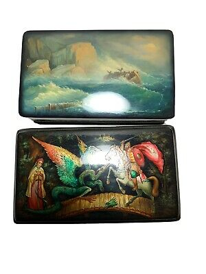 Vintage Russian Hand Painted Lacquer Box Lot Of 2