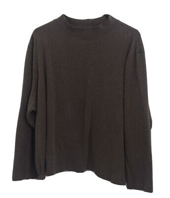 CROFT & BARROW Womens 3X Stretch Brown Long Sleeve Pullover Mock Neck Top