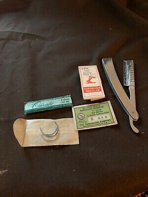 Vintage surgical needles and razor