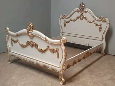 """Mahogany 4' 6"""" Double Antique White and Gilt Garland Floral Rococo Bed New"""
