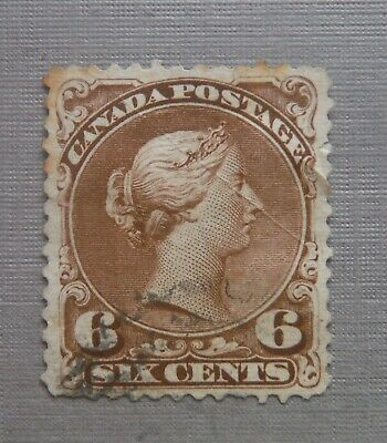 Canada stamp scott  # 27 early Canada used six cents victoria